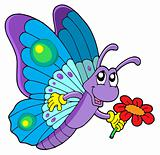 Cute butterfly holding flower