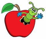 Cute worm in apple