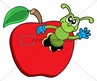 Cute worm in apple