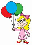 Small girl with balloons vector illustration