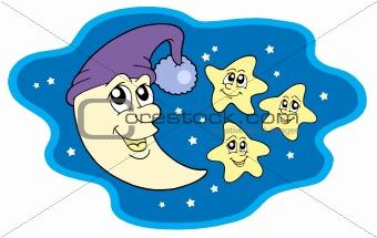 Image Description: Moon in cap and stars - vector illustration.