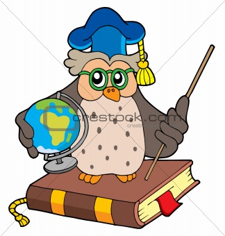Owl teacher with globe