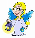 Small angel with lantern vector illustration