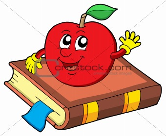 Smiling apple on book