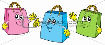 Smiling shopping bags vector illustration.