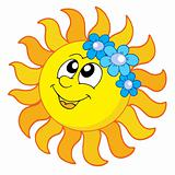 Smiling Sun with flowers vector illustration
