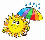 Smiling Sun with umbrella vector illustration