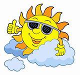 Sun with sunglasses vector illustration