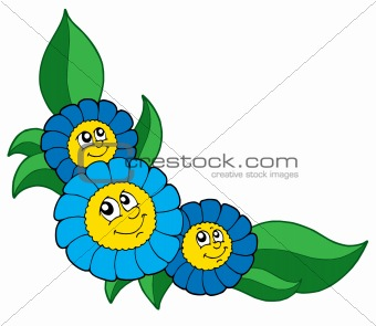 Three smiling blue flowers vector illustration