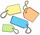 Various color tags for sale