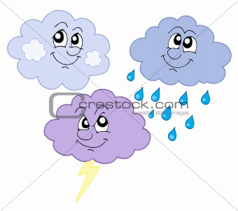 Various cute clouds vector illustration