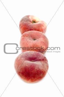 Three peach closeup