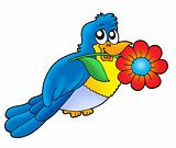 Blue bird with flower