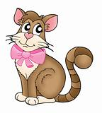 Cat with pink ribbon