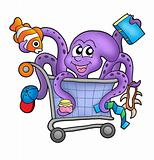 Octopus and shopping cart