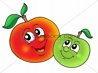 Pair of smiling apples