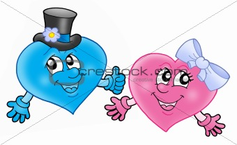 Pair of smiling hearts