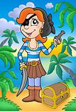Pirate woman with pistol and treasure chest
