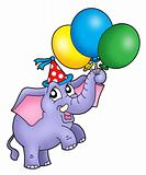 Small elephant with balloons