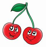 Smiling red cherries