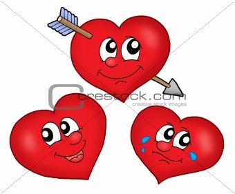 Three cartoon hearts