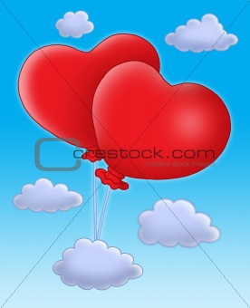 Hearts balloons on blue sky