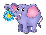Small elephant with flower