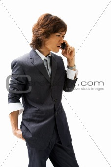 Asian business man and phone