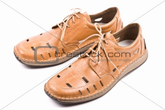 Two man's summer shoes isolated