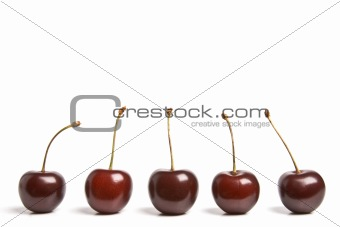 Several sweet cherries isolated on white
