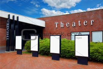 Theater building with blank billboards