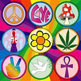 Nine 60s icons on a rainbow background