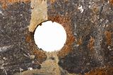 Grunge metal texture with hole
