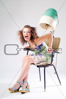 Girl and Hair Dryer