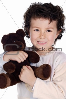 beautiful child with teddy bear