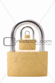 Three padlocks isolated on white background
