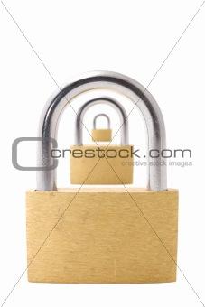 Three padlocks isolated on white background
