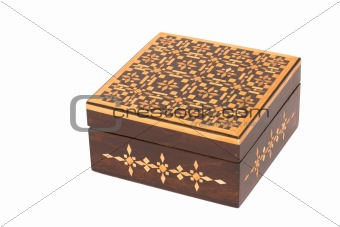 Wooden casket with ornamental pattern isolated