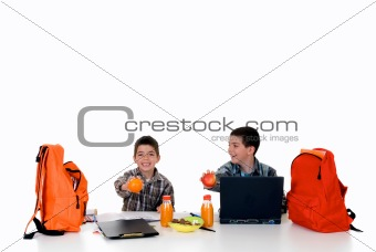 Boys doing homework