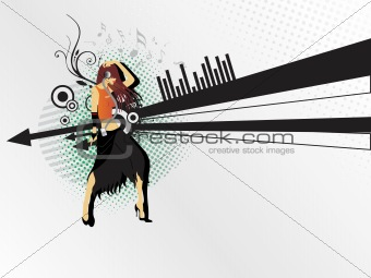 beautifull dancer on musical background_1, illustration