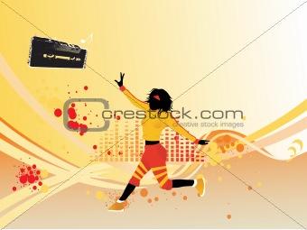 beautifull female silhouette dancing on music background_1, wallpaper