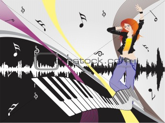 beautifull female silhouette dancing on music background_12, wallpaper