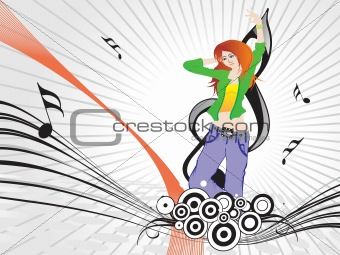 beautifull female silhouette dancing on music background_13, wallpaper