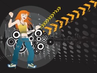 beautifull female silhouette dancing on music background_14, wallpaper