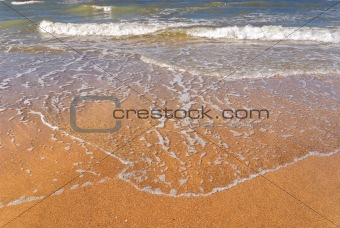 flood water on the beach