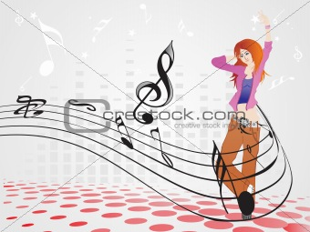 beautifull female silhouette dancing on music background_17, wallpaper