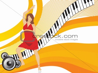 beautifull female silhouette dancing on music background_19, wallpaper