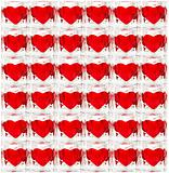 Background made of glass tiles with red hearts