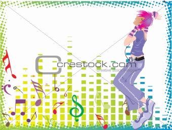 beautifull female silhouette dancing on music background_2, wallpaper