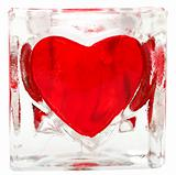 Glass tile with heart